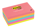 3M CAPETOWN RULED POSTIT PAD 73x123MM ASSORTED PACK OF 5